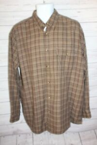Orvis Men's Plaid Shirt Brown Tan Button Up Long Sleeve Cotton Casual Size Large