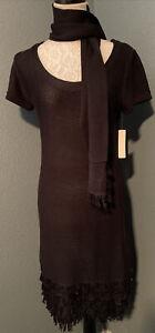 New Directions Womens NWT Black Sweater Dress W/Scarf Fringe Sz Small