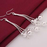 Women's 925 Sterling Silver Filled Ball Beads 10cm Long Drop Dangle Earrings