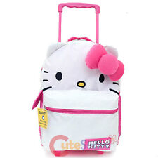 """Hello Kitty Face School Roller Backpack Large 16"""" Rolling Bag :Iconic Collection"""