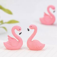 2Pcs/Set Micro Flamingo Figurine  Animal Ornaments DIY Garden Small Plants Decor
