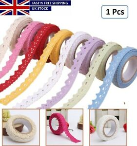 Fabric Lace Washi Tape Ribbon Cotton Trim Adhesive Sticky Shabby Chic Pastel UK