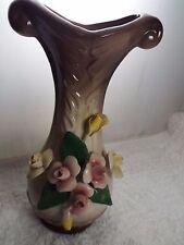 Ceramic CAPODIMONTE Pink Yellow Roses Brown Vase