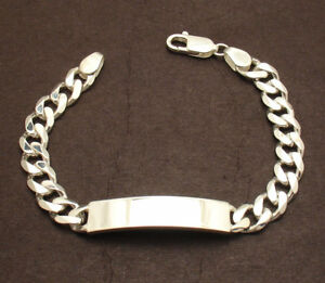 """8"""" Mens 9mm Solid Miami Cuban Curb Chain ID Bracelet Real 925 Sterling Silver"""