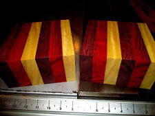 """TWO EXOTIC SUPER COLORFUL LAMINATED BOWL BLANKS LUMBER WOOD 6 X 6 X 3"""""""