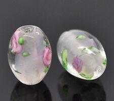 30 Lightpink Flower Glass Lampwork Beads 14x10mm