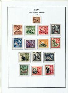 MALTA 1948 MNH  To 10/-  (15 Items)ZA 89