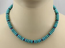 Türkiskette Türkis Halskette mit Charoit für Damen 44,5 cm
