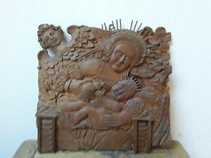 Holzbild - Holzrelief  - Madonna mit Kind