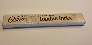 Vintage OSTER Stainless Steel Fondue Forks Set of 6 In Original Box