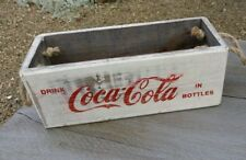 White Coca Cola Rustic Wooden Box With Rope Handles ( Diet Coke )