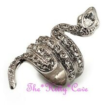 Silver Snake Asp Cobra Cleopatra Pharaoh Cuff Wrap Ring w/ Swarovski Crystals