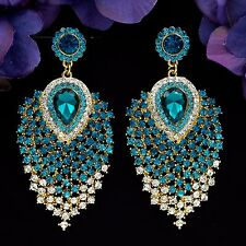 Cute 18K GP Blue Crystal Peacock Feathers Chandelier Dangle Ear-nail Earrings