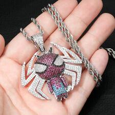 Hip Hop Shiny Full Colorful Ziron Spider Man Pendant Necklace for Men Child Gift