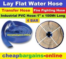 "LAY FLAT WATER FIRE HOSE REEL 1"" x 100Mt INDUSTRIAL PVC TRANSFER IRRIGATION HOSE"