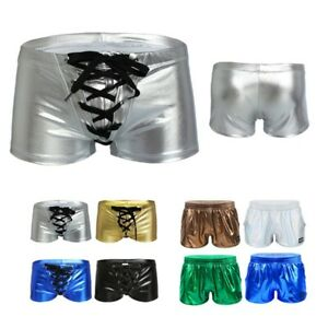 Men's Shiny Swim Trunks Metallic Boxer Shorts Sport Short Pants Raves Dancewear