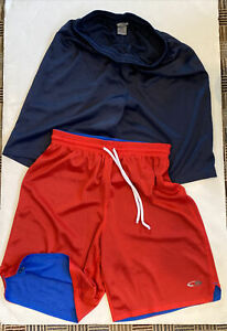 Lot of 2 Pair Basketball Shorts Size Adult Small Navy Blue, Red/Blue Reversible