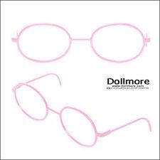 Dollmore Doll Glasses Blythe Size - Round Steel Lensless Frames (Pink)