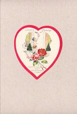 Vintage 1940s Diecut Valentine Heart Cupid Delivers Love Letter Knocks On Door