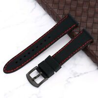 High Quality 20/22/24MM Black Rubber Watch Band Wrist Bracelet Strap Spring Bar