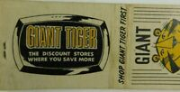 Giant Tiger The Discount Stores Where You Save More Vintage Matchbook Cover