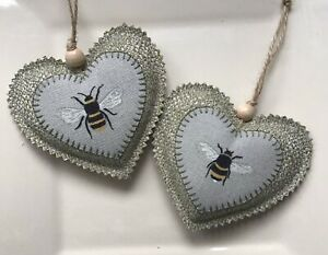 """2 Lavender Filled Handmade Hanging Hearts Sophie Allport Bee Fabric 4""""x 4"""""""