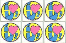 VINTAGE Stickers I Love YOU! I Heart U  LOT of 6