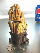 Vintage Soapstone Chinese Carving Man with Staff and Beard holding fish 4 1/2""