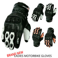 MOTOFAST Motorcycle Stylish Ladies Gloves Real Cowhide Leather Gloves Pre-Curved