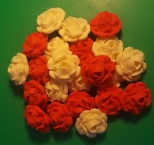 24 Edible Large Ivory & Red roses flowers cupcake cake toppers wedding