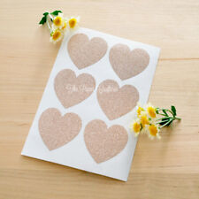 24 x ROSE GOLD HEART STICKERS Pink Glitter Envelope Seals Wedding Favours Labels