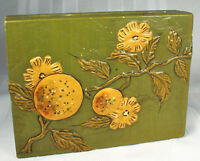 1950s PLAYING CARD BOX Wooden with Raised Oranges/Blossoms JAPAN 4 EUCHRE Decks