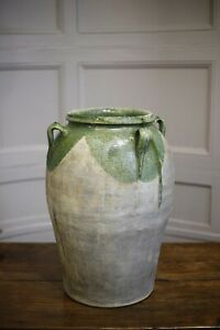 Very Large French Green glazed confit pot