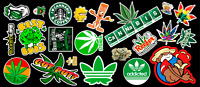 Weed Marijuana Cannabis Contour Cut Vinyl Sticker Bundle