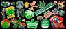 Weed Marijuana Cannabis Contour Cut Vinyl Sticker Bundle