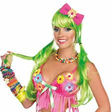 Adult Std. Light-Up Long Green Costume Wig - Costume Wigs