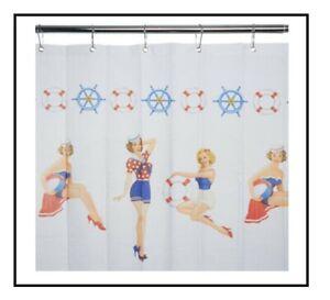 George Asda home Vintage Sailor Girl Shower Curtain - Universal Show Curtain