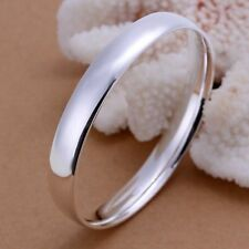 Fashion 925Sterling Solid Silver Men Jewelry Bright Circle Bangles Bracelet K169