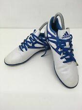 BOYS CHILDRENS ADIDAS BLUE WHITE LEATHER LACE UP KIDS TRAINERS SHOES UK 5.5 US 6