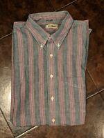 LL Bean chamois cotton Long Sleeve Button up 2 Pocket Shirt Men's XL Tall