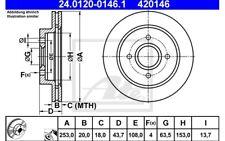 ATE Juego de 2 discos freno Trasero 253mm ventilado para FORD MONDEO