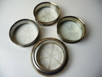 """Lot of 4 Silver and Etched Glass COASTERS 3"""" & 3-3/4"""" diam"""
