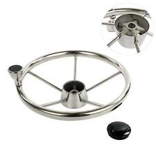 13-1/2 Inch 5 Spoke Stainless Steel Boat Steering Wheel Destroyer Style Marine