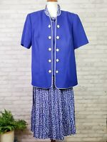 Leslie Fay 16W skirt suit royal blue with white geometric pleated skirt w/scarf