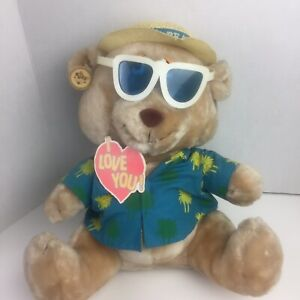 """Russ Luv Pet Life's A Beach Bear Tropical Beach Outfit Sunglasses Plush 14"""""""