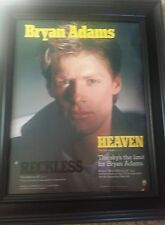 Bryan Adams Heaven Rare Promo Poster Ad Framed! Printed Once!