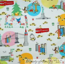 BonEful Fabric Cotton Quilt VTG NYC New York City CAR Taxi Bus Dog SALE 99 SCRAP
