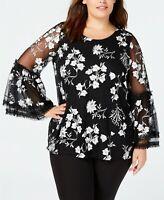 Alfani Women's Plus Black White Toss Garden Embroidered Mesh Top Blouse SIZE 1X