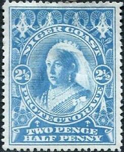 Niger Coast 1894 QV  2.5d Blue   SG.54 Mint (Hinged)   Perf.14.5 x 15    Cat:£20