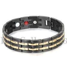 Magnet Therapie Kugel Perlen Edelstahl Armband Magnetarmband Schwarz Gold Herren